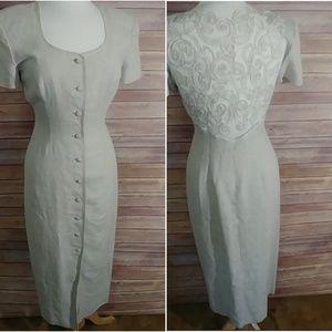 Maggy London vintage linen button down dress 4